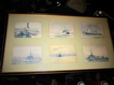 VINTAGE FRAMED 6 SMALL SHIPPING PRINTS SET BLUE HUES PARKER GALLERY LONDON #1